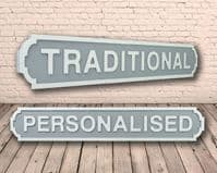 Personalised Traditional Shape Wooden Street Sign Grey & White Letters